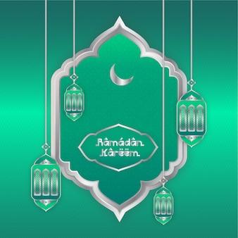 Ramadan mubarak green and silver colorful background