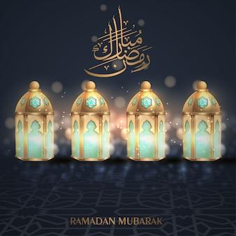 Рамадан мубарак приветствие фон с золотым фонарем
