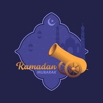 Iftar 대포와 라마단 무바라크 인사말 카드 일러스트