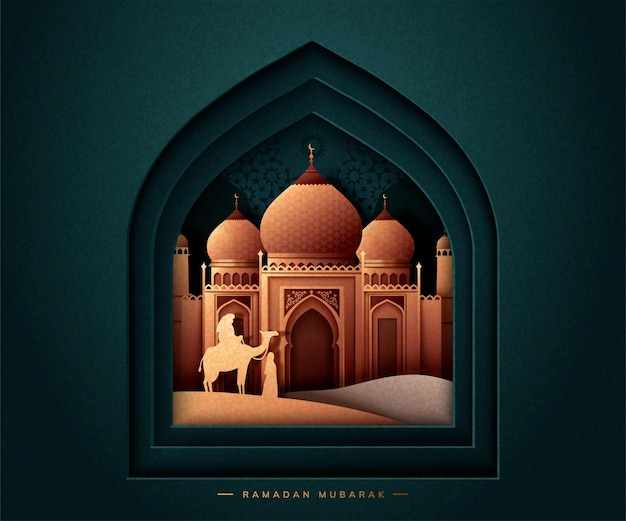 Ramadan mubarak greeting card with mosque on dark green