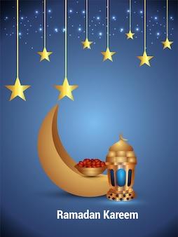 황금 달과 아랍 랜턴이 있는 라마단 무바라크 이슬람 축제