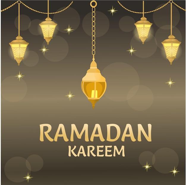 Ramadan mubarak modern arab calligraphy typography on great mosque silhouette illustration