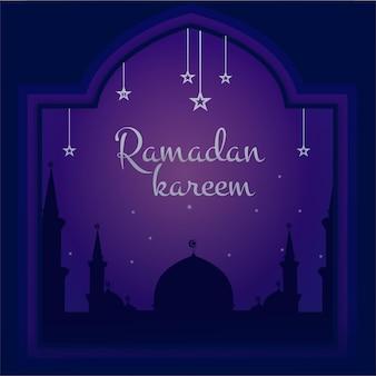 Рамадан мубарак типография современной арабской каллиграфии на иллюстрации силуэта великой мечети