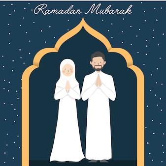 ラマダンムバラクの願いと金のパターンの背景を持つかわいいカップルイスラム教徒のキャラクターと挨拶