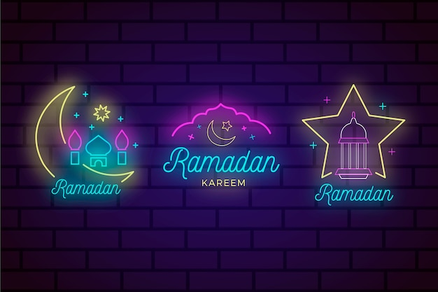Ramadan neon sign collection