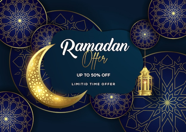 Ramadan offer with lantern and crescent background