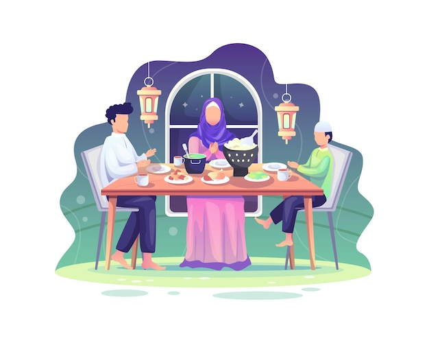 Ramadan sahur and iftar party, eat together with muslim family, ramadan fasting illustration
