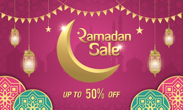 Ramadan sale banner design with golden crescent moon, arabic lanterns and islamic ornament on purple