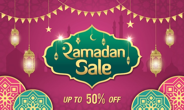 Ramadan sale banner design with golden shiny frame, arabic lanterns and islamic ornament on purple