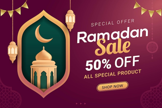 Ramadan sale banner discount template design for business promotion