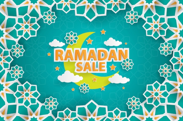Рамадан продажа баннер шаблон с орнаментом