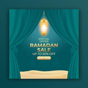 Ramadan sale banner with curtain and lantern