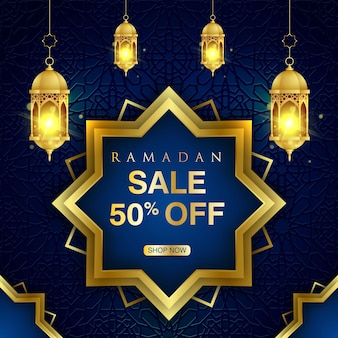 ramadan sale banner with golden traditional lantern