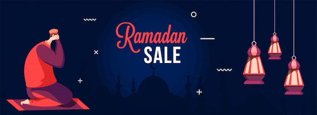 Ramadan sale banner with muslim man doing prayer (namaz) on mat in fronnt of silhouette mosque.
