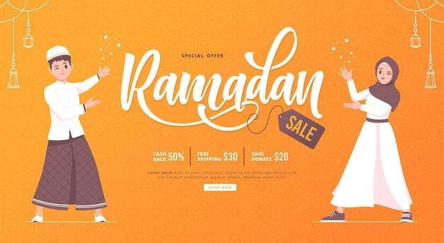 Ramadan sale concept illustration background
