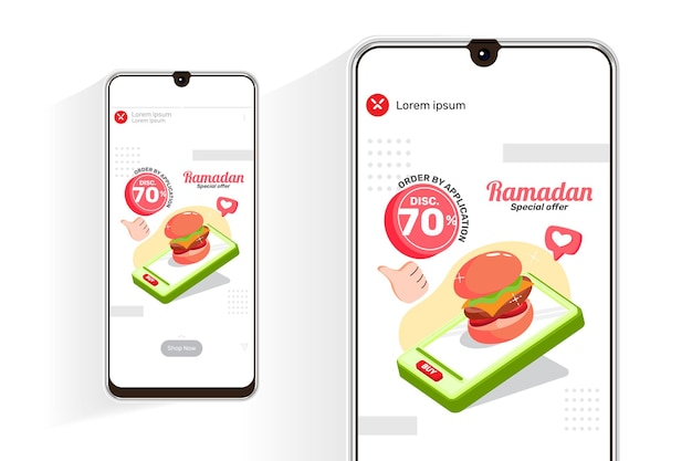Ramadan sale feed and stories with illustration burger