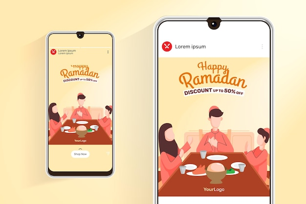 Ramadan sale feed and stories with illustration dinner with family