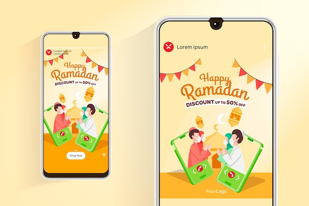 Ramadan sale feed and stories with illustration mobile communication muslim people