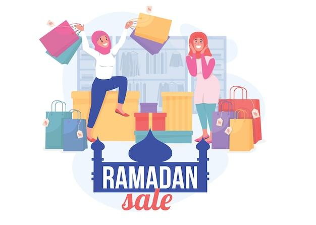 ラマダンセールフラットコンセプトイラストショッピングのための特別な休日のオファー小売プロモーションウェブデザインのための幸せなイスラムの女性の漫画のキャラクター季節割引クリエイティブなアイデア