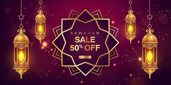 ramadan sale horizontal banner with realistic golden lanterns and shining stars