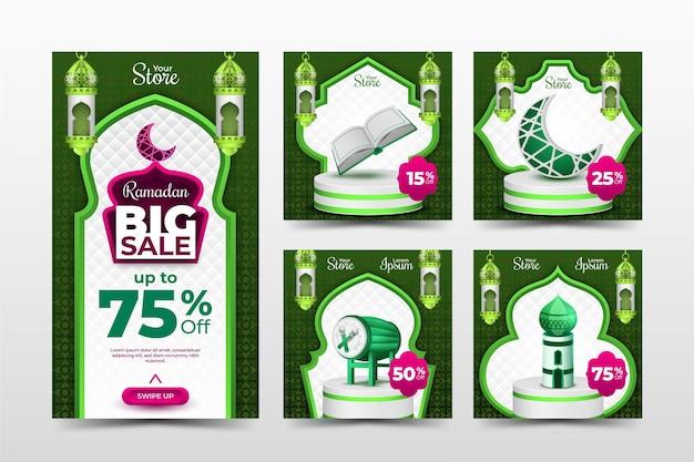 緑とピンクをテーマにしたラマダンセールinstagramテンプレート