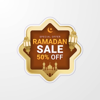 Ramadan sale lable banner template