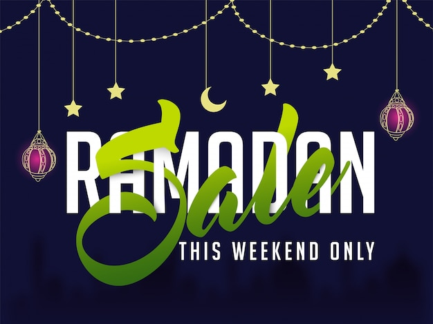 Ramadan sale lettering in white and green colors on decorative background, creative poster, banner or flyer design for islamic festival celebration.
