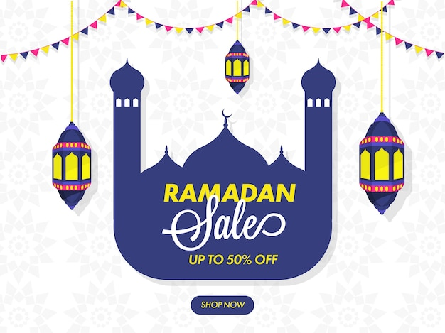 Ramadan sale poster design with 50% discount offer