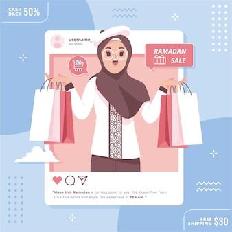 Ramadan sale social media concept illustration