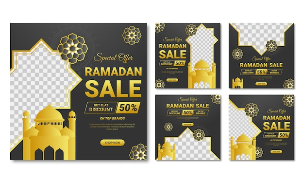 Ramadan sale social media post template banners ad.