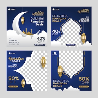 Ramadan sale social media post template banners ad