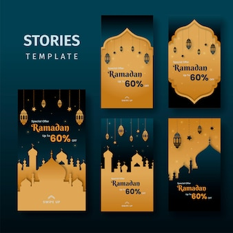 Ramadan sale social media stories template banners