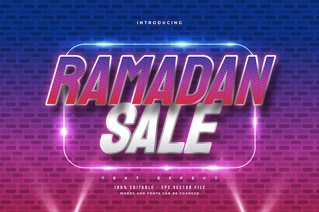 Ramadan sale text in colorful retro style