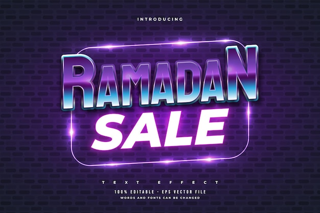 Ramadan sale text in retro and colorful style with glowing neon effect