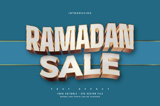 Ramadan sale text in white and gold style with wavy effect