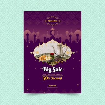Ramadan sale vertical poster template