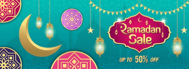 Ramadan sale, web header or banner  with golden shiny frame, arabic lanterns and golden crescent moon on turquoise . up to 50% discount offer