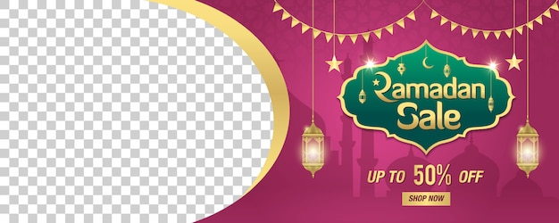 Ramadan sale, web header or banner  with golden shiny frame, arabic lanterns and space for your image on purple . up to 50% discount offer