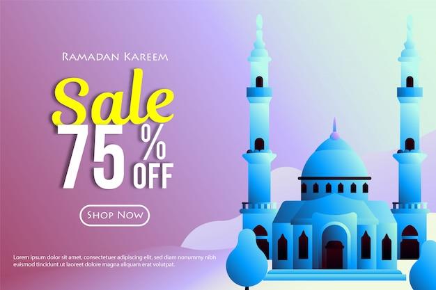 モスクとラマダン販売割引バナー。ラマダンとイードの月のプロモーションとショッピングテンプレート