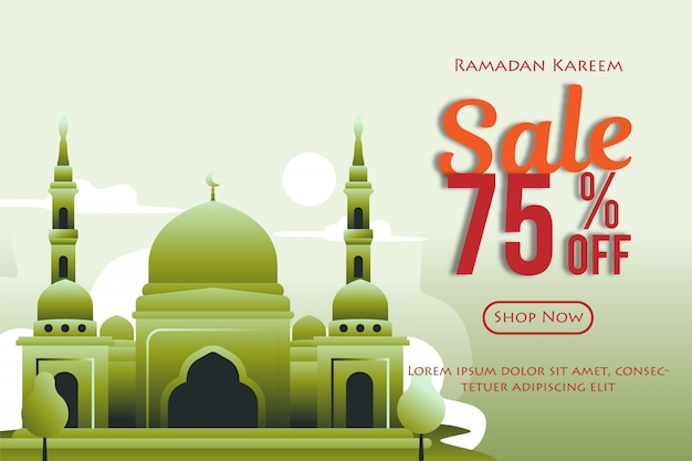 Ramadan sales discount banners with mosque. promotions and shopping templates or for the month of ramadan and eid