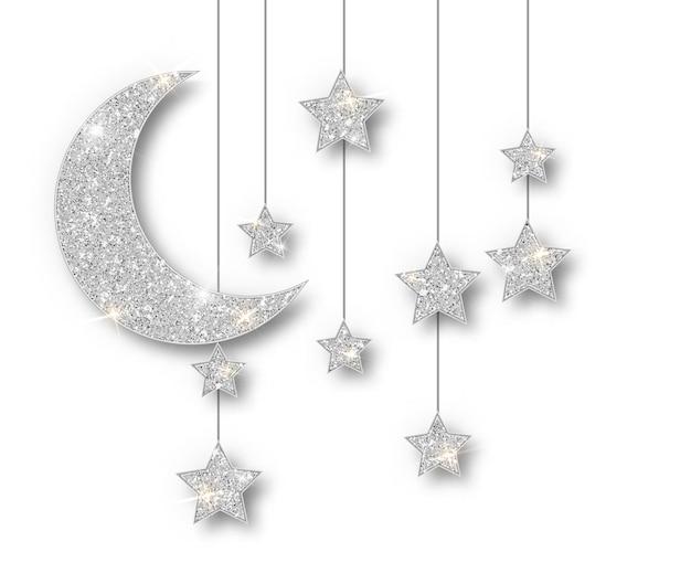 白い背景で隔離ラマダンシルバー装飾。ぶら下がっている三日月形のイスラムのきらめき星。ラマダンカリームデザイン要素が分離されました。パーティーのポスター、ヘッダー、バナーのベクトルフレーム。 無料ベクター