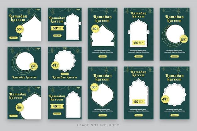 Ramadan stories and post social media template bundle