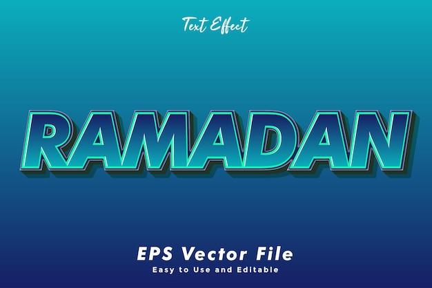 Рамадан текстовый эффект. редактируемый и простой в использовании. эффект типографики
