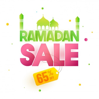 Ramadan text with mosque and 65% off offer. sale banner or poster design for holy month of