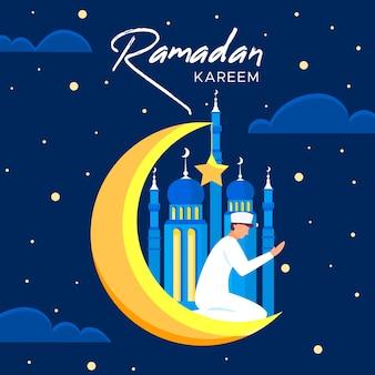 Рамадан с человеком и луной