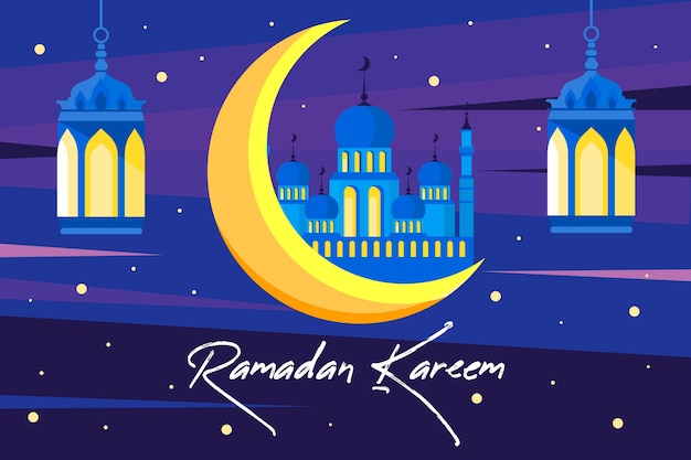 Ramadan with moon and palace