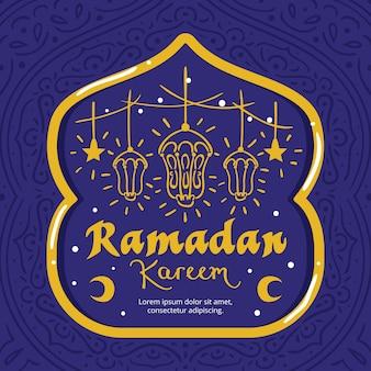 Ramadan con stelle e lanterne