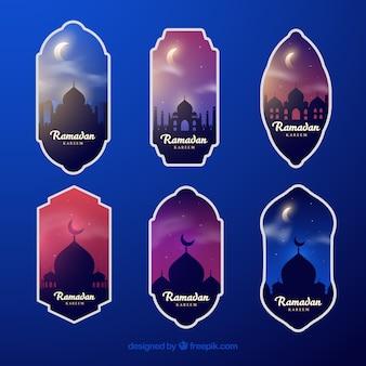 Коллекция ночной этикетки ramadan