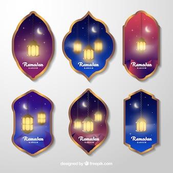 Коллекция ярлыков ramadan с лампами