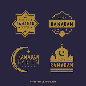 Набор значков ramadan в золотом стиле